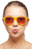 Funny teenage girl in shades Royalty Free Stock Photography