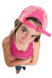 Funny teenage girl wearing a baseball cap Royalty Free Stock Photo