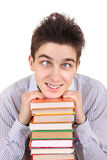 Funny Teenager with the Books Royalty Free Stock Images