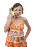 Funny teenager with comb over white royalty free stock photos
