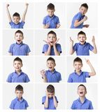 Funny teenager, expressions set over white background. Collage about funny teenager, expressions set over white background. Handsome eight year old teen boy Stock Photo