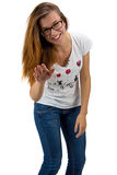 Funny teenager girl with glasses Royalty Free Stock Photo