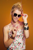 Funny teenager girl in sunglasses Royalty Free Stock Photo