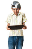 Funny teenager with tablet Royalty Free Stock Photography