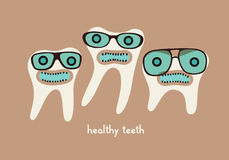 Funny teeth cartoon characters in glasses. Vector illustration. Stock Images