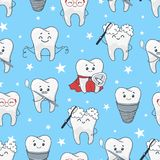 Funny teeth cartoon pattern isolated from background royalty free illustration