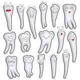 Funny teeth. Set of vector characters. 16 pieces. Stock Photography
