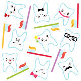 Funny teeth with toothbrushes seamless pattern Stock Photography