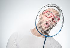 Funny tennis player Royalty Free Stock Image