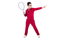 Funny tennis player isolated Royalty Free Stock Photography