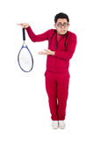 Funny tennis player isolated Stock Photography