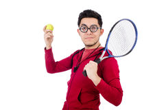Funny tennis player isolated Royalty Free Stock Image