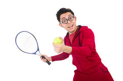 Funny tennis player isolated Stock Photo