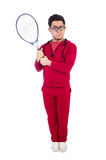 Funny tennis player isolated Royalty Free Stock Images