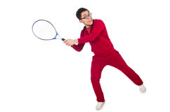 Funny tennis player isolated Stock Image