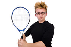 Funny tennis player isolated on white Royalty Free Stock Images
