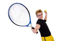 Funny tennis player isolated on white Royalty Free Stock Photography