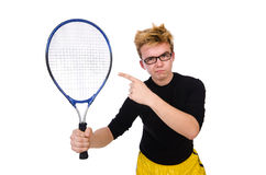 Funny tennis player isolated on white Stock Photo