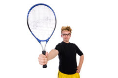 Funny tennis player isolated on white Royalty Free Stock Photo
