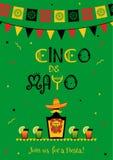 Funny tequila cinco de mayo fiesta card invitation royalty free illustration