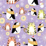 Funny texture with cats and penguins. Seamless pattern with winter fun cats and penguins on a violet background Stock Photography