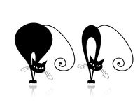 Funny thick and thin cats silhouette for your Stock Images