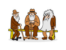 Funny three old men sitting on the bench. Old man with hat and w Stock Photo