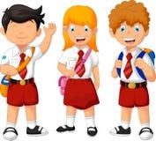 Funny three student cartoon Stock Photo