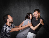 Funny threesome problems Stock Images