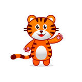 Funny Tiger Baby Vector Illustration for Kids. Cute Baby Tiger waving hand. Cartoon Vector Art isolated on white background Stock Photo