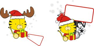 Funny tiger baby xmas cartoon set Royalty Free Stock Images