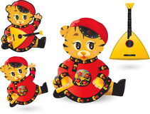 Funny tiger with balalaika Stock Images