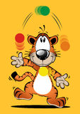 Funny tiger cartoon Playing ball Royalty Free Stock Photo