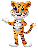 Funny tiger cartoon pointing both fingers Stock Image