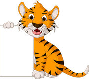 Funny tiger cartoon posing with blank sign Royalty Free Stock Photography