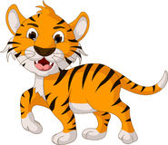 Funny tiger cartoon walking Royalty Free Stock Photo