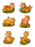 Funny tiger decoration souvenir isolated. Funny tiger decoration souvenir toys ceramics isolated stock photo