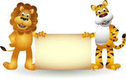 Funny tiger and lion cartoon. Vector illustration of tiger and lion cartoon with blank sign Royalty Free Stock Image