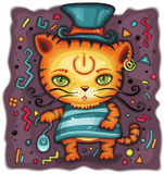 Funny tiger in top hat. Vector iluustration of funny kitten or tiger with power sign tattoo, and computer mouse. Can be used as mousepad Stock Photos