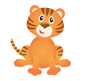 Funny tiger. On white background Stock Images