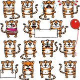 Funny tigers (1). 15 smiley tigers individually grouped for easy copy-n-paste. Vector Royalty Free Stock Photos