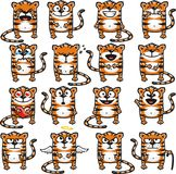 Funny tigers (2). 16 smiley tigers individually grouped for easy copy-n-paste. Vector Stock Photography