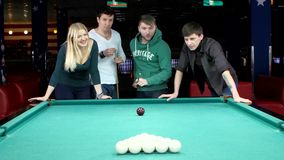 Funny time with friends in billiard club stock video