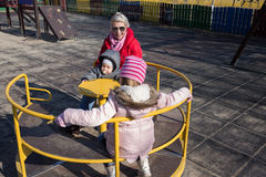 Funny time. Mom with her daughter and her son. Stock Image
