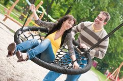 Funny time - young couple together Stock Images