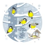 Vector Christmas birds and birdfeeder Christmas image stock illustration