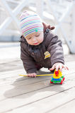 Funny toddler boy crawling Stock Photo