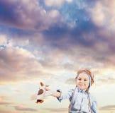 Little boy pilot Stock Photos