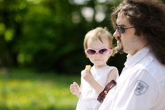 Funny toddler girl in sunglasses Royalty Free Stock Images