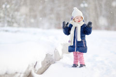 Funny toddler girl at winter Stock Images
